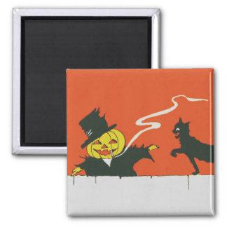 喫煙のかかしのジャックOのランタンの黒猫 マグネット