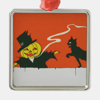 喫煙のかかしのジャックOのランタンの黒猫 メタルオーナメント
