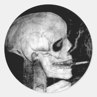 喫煙のスカル ラウンドシール