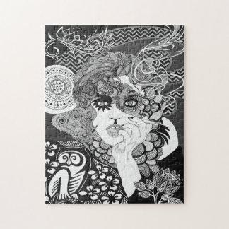喫煙の女性のパズル ジグソーパズル