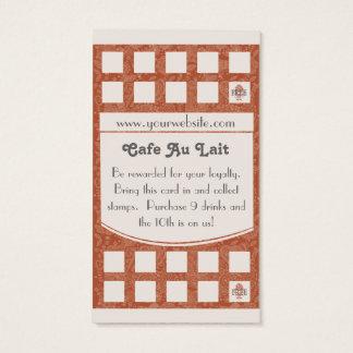 喫茶店のロイヤリティのパンチカードの名刺 名刺