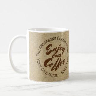 """喫茶店のロゴのバーラップの""""コーヒー""""マグ楽しんで下さい コーヒーマグカップ"""