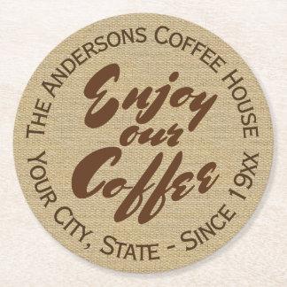 """喫茶店は""""私達のコーヒー""""名前楽しみます ラウンドペーパーコースター"""