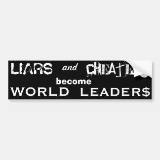 嘘つきの詐欺師の各国指導者の黒いbumberのステッカー バンパーステッカー