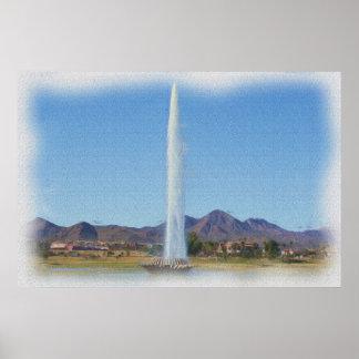 噴水の丘の噴水、Azの写真の絵画 ポスター