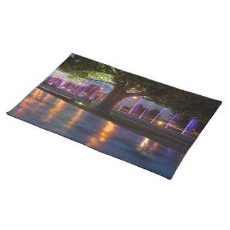 噴水は夜placemateによって-ワルシャワ都市を示します ランチョンマット