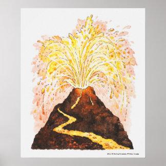 噴火している火山のイラストレーション ポスター