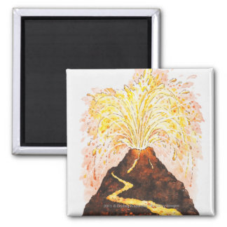 噴火している火山のイラストレーション マグネット
