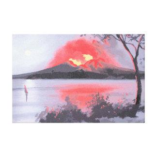 噴火のVesuviusの火山新印象主義 キャンバスプリント