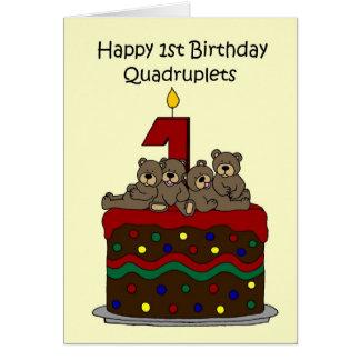 四つ子の最初誕生日 カード
