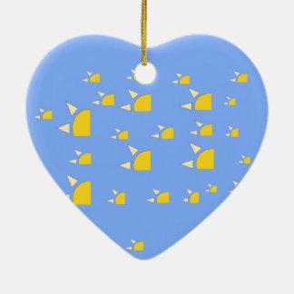 四分の一太陽の淡いブルーの黄色いパターン セラミックオーナメント