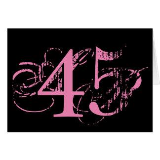 四十五は大事、黒の大きいピンクの文字です カード