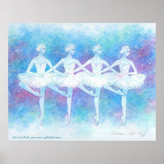 四羽の白鳥の踊りアートプリント ポスター