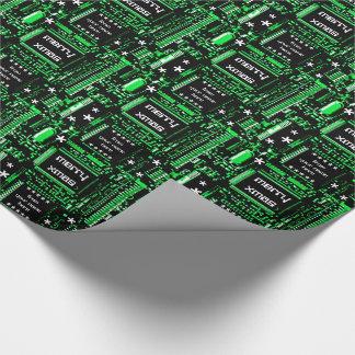 回路の緑の「メリークリスマスからの…」 ギフト用包装紙 ラッピングペーパー