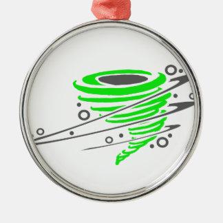 回転の緑のトルネード メタルオーナメント