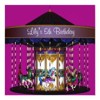 回転木馬の女の子の第5誕生会 カード