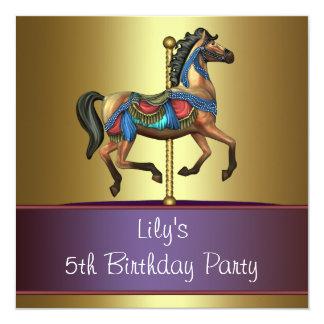 回転木馬の子馬の女の子の第5誕生会 カード