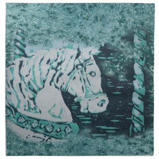 回転木馬の馬のアクアマリン ナプキンクロス