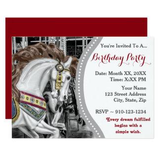 回転木馬の馬のメリーゴーランドの誕生会 カード