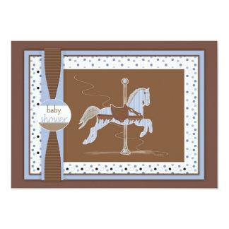 回転木馬の馬の男の赤ちゃんのシャワーInviation カード