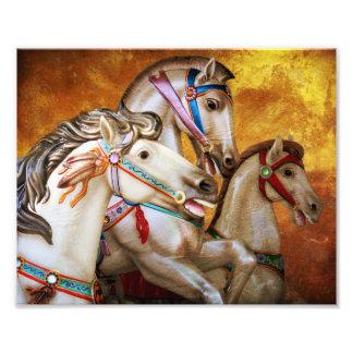 回転木馬の馬の芸術のプリント フォトプリント