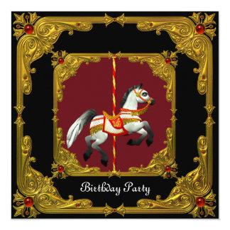 回転木馬の馬の金ゴールドの赤く黒く豪奢な誕生会 カード