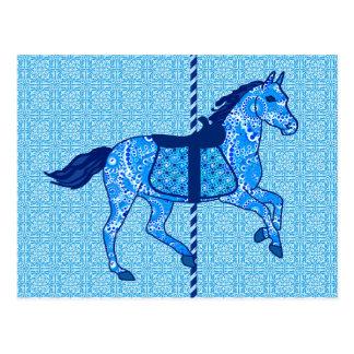 回転木馬の馬-コバルトおよびスカイブルー ポストカード