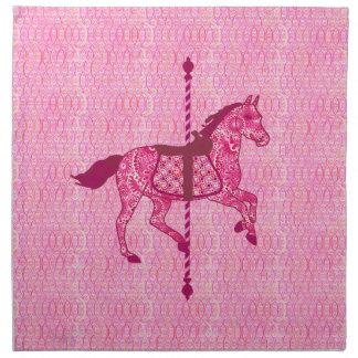 回転木馬の馬-明るい赤紫色のピンク ナプキンクロス