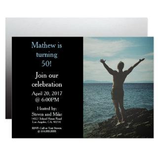 回転50第50誕生会の写真の招待状 カード