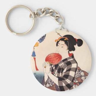 団扇を持つ女、円形ファンを持つ国芳の女性、Kuniyoshi キーホルダー