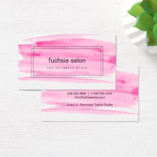 囲まれるピンクの水彩画 名刺
