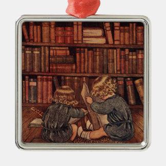 図書館の冒険 シルバーカラー正方形オーナメント