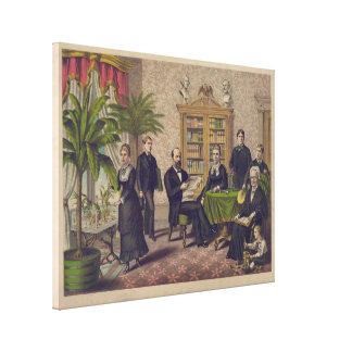 図書館の大統領James Garfieldおよび家族 キャンバスプリント
