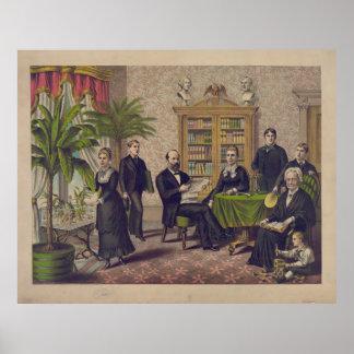 図書館の大統領James Garfieldおよび家族 プリント