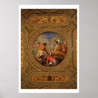 図書館の天井からのダイアナそしてActaeon、 ポスター