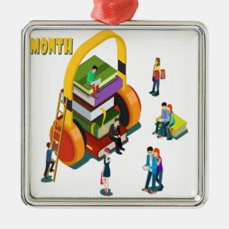 図書館の恋人の月-感謝日 シルバーカラー正方形オーナメント