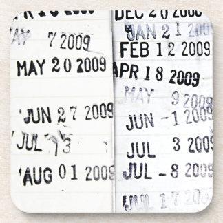 図書館の日付印のコースター コースター