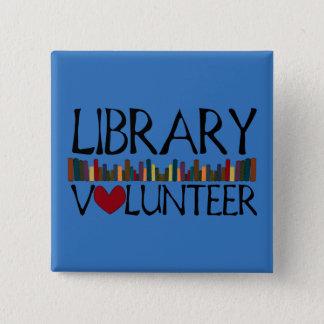 図書館の有志の本-色を変えて下さい 5.1CM 正方形バッジ