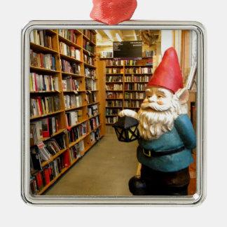 図書館の格言I シルバーカラー正方形オーナメント