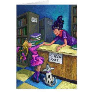図書館の点検 グリーティングカード