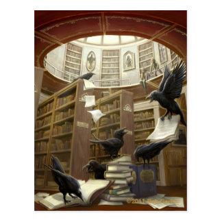 図書館の郵便はがきのワタリガラス ポストカード