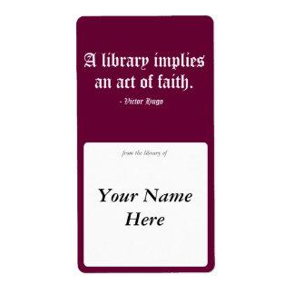 図書館は信念上の行為を意味します ラベル