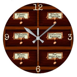 図書館は木製にカード目録の引出しの読を予約します ラージ壁時計