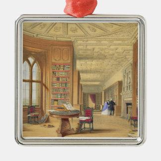 図書館、Windsorの城1838年(色のlitho) シルバーカラー正方形オーナメント