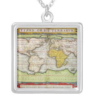 図表にするフランシス・ドレーク地図 シルバープレートネックレス