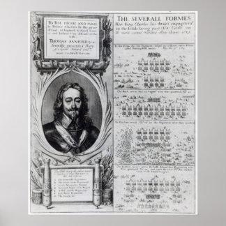 図表を持つ王のチャールズIポートレート ポスター