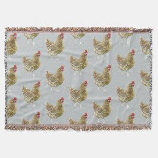 図解入りの、写真付きのでパターン(の模様が)あるな鶏のブランケット スローブランケット