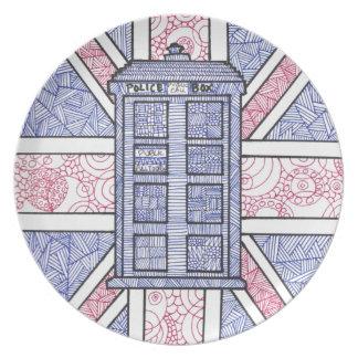 図解入りの、写真付きのなイギリスの警察箱および英国国旗の旗 プレート