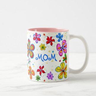 図解入りの、写真付きのな世界で最も最高のなお母さん ツートーンマグカップ