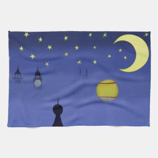 図解入りの、写真付きのな夜空の皿タオル キッチンタオル